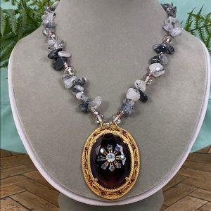 ⭐️Adorned Crown amethyst quartz crystal necklace